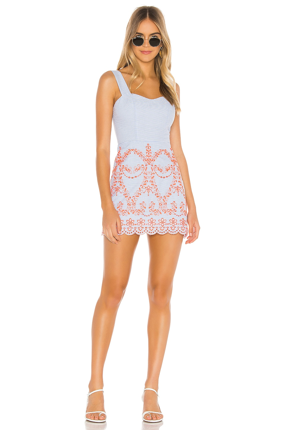 Tularosa Ari Embroidered Dress in Blue & Orange