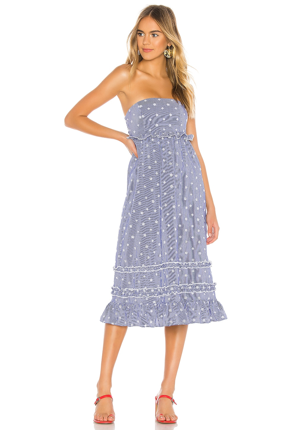 Tularosa Raven Dress in Navy & White