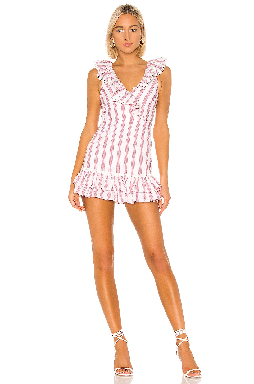 Tularosa Bennet Dress in Red & White Stripe