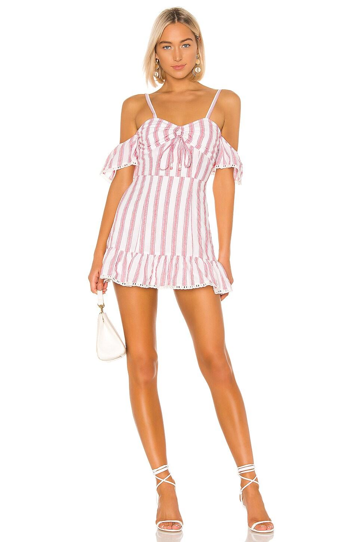 Tularosa Brinley Dress in Red & White Stripe