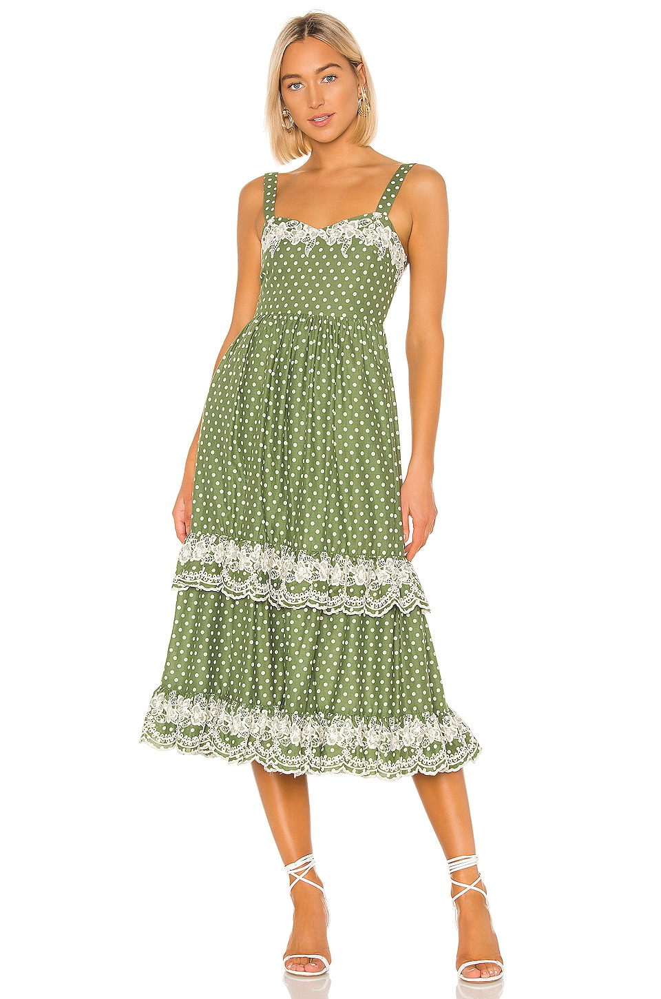 Tularosa Landry Dress in Moss Green Polka Dot