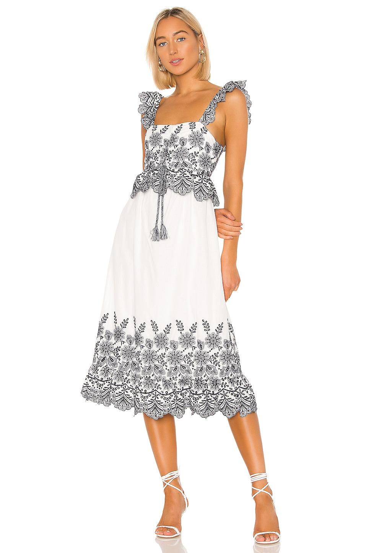 Tularosa Charlie Dress in White & Navy