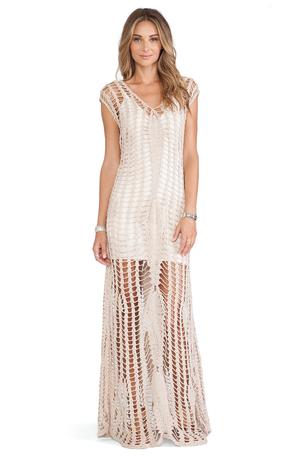 Tularosa Penelope Crochet Maxi Dress in Stone