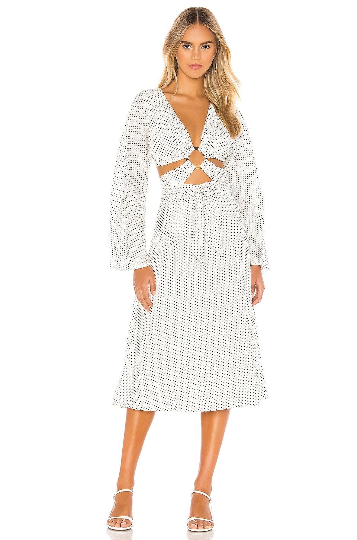 Tularosa Molly Midi Dress in Ivory & Black Dot
