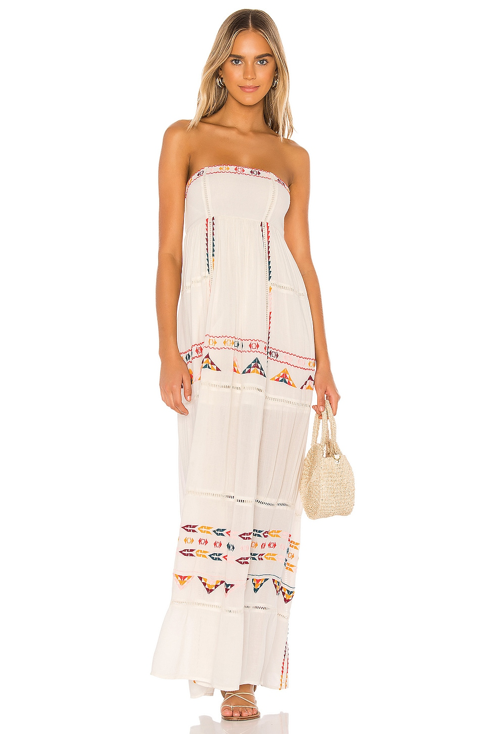 Tularosa Felicity Embroidered Dress in White