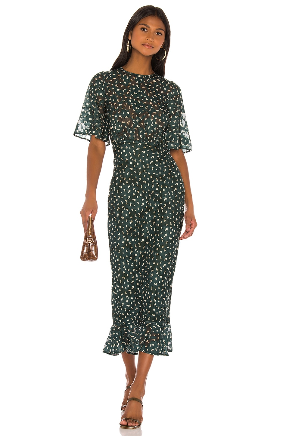 Tularosa Ziggy Dress in Hunter Green Floral
