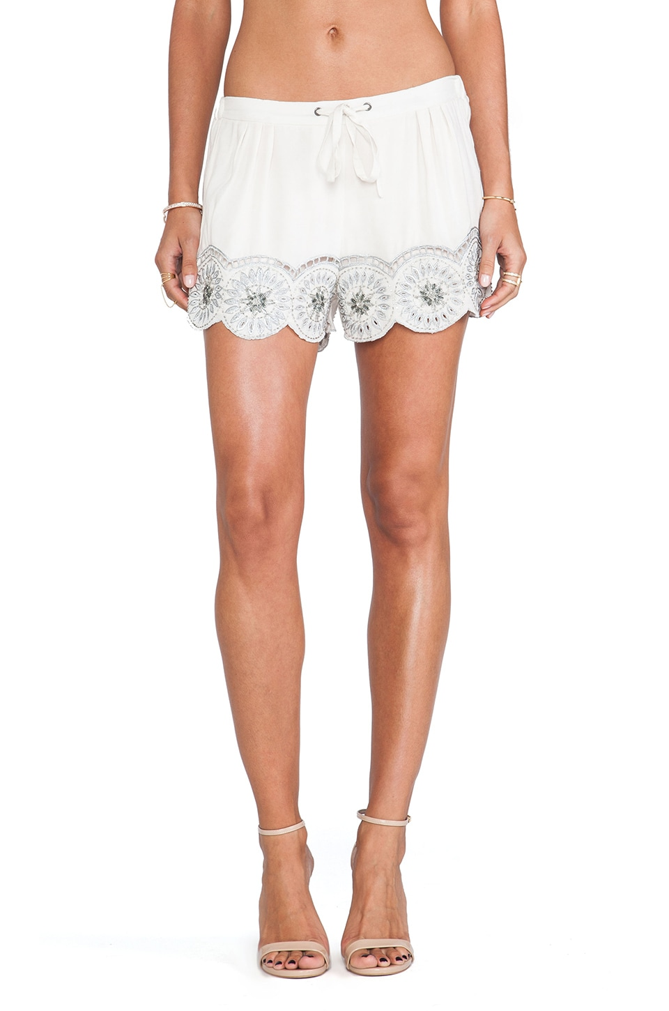 Tularosa Simone Embellished Short in Ivory