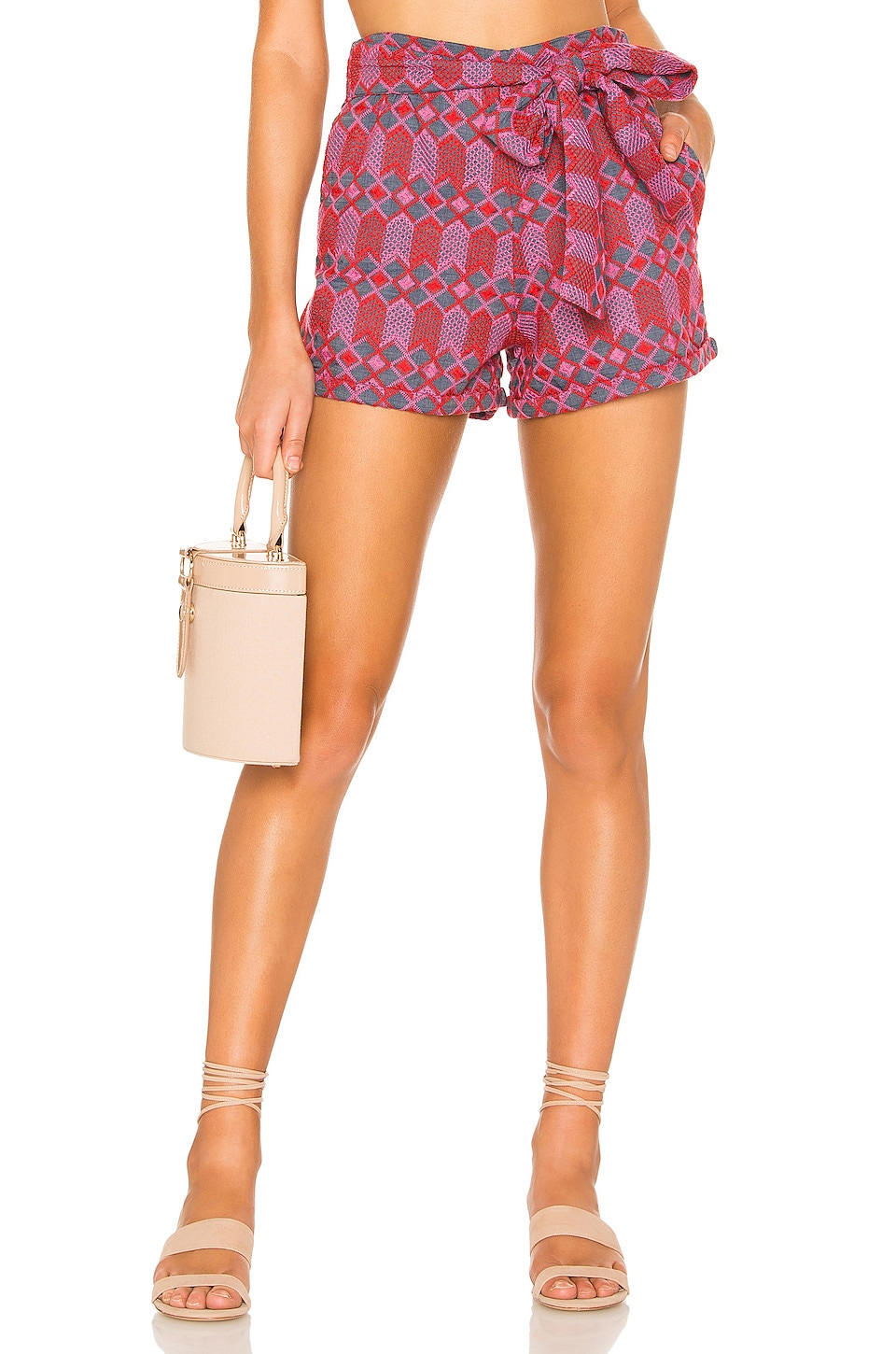 Tularosa Claire Embroidered Short en Pink Multi