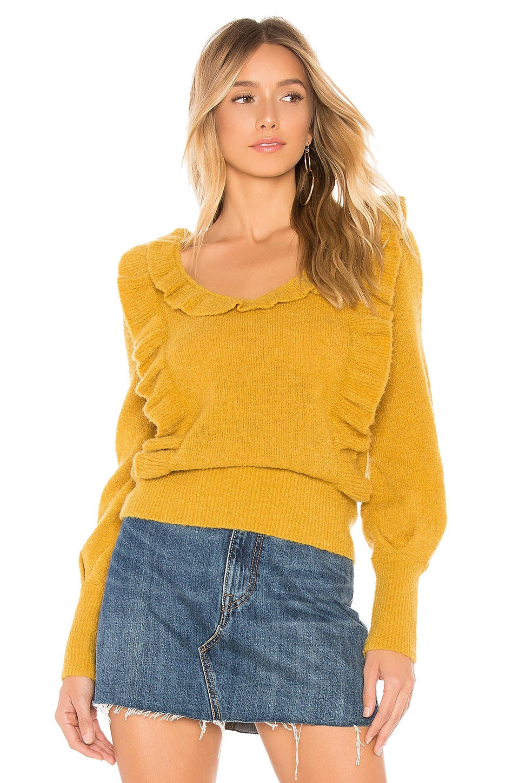 Tularosa Dahlia Ruffle Sweater in Dark Yellow