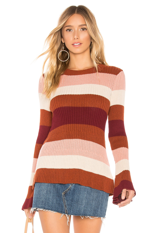 Tularosa Courage Sweater in Burgundy Stripe