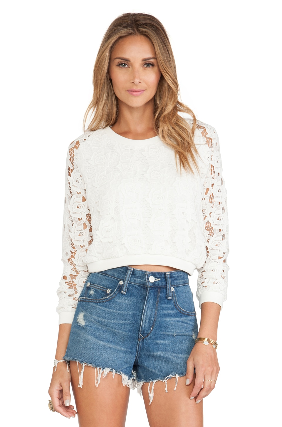 Tularosa Remi Cropped Pullover in Ivory Lace