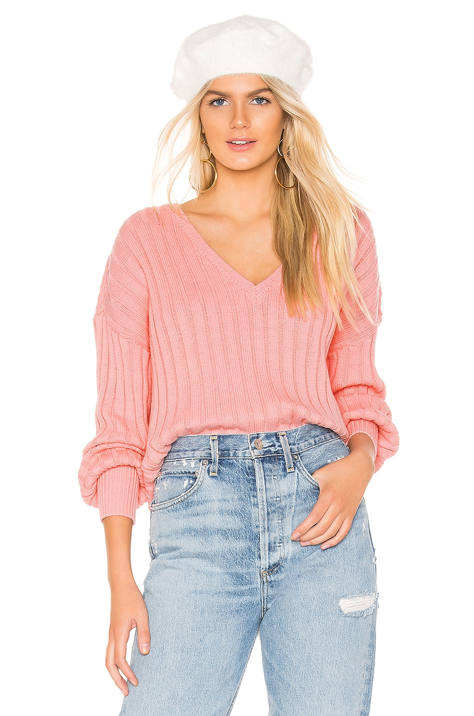Tularosa Padon V Neck Sweater in Pink