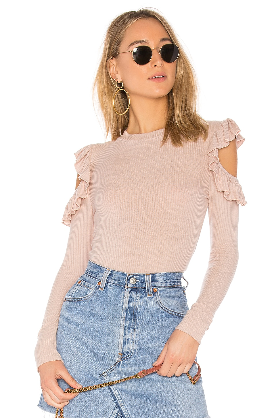 Tularosa Ruffle Cold Shoulder Sweater in Blush