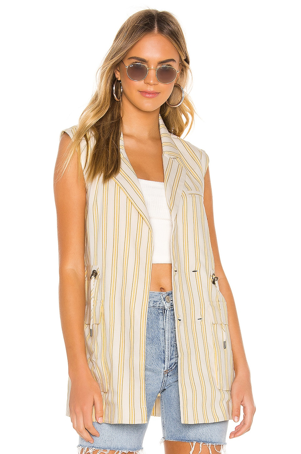 Tularosa Perla Vest in Ivy & Yellow Stripe