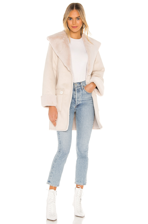 Tularosa Edith Faux Fur Coat in Cream