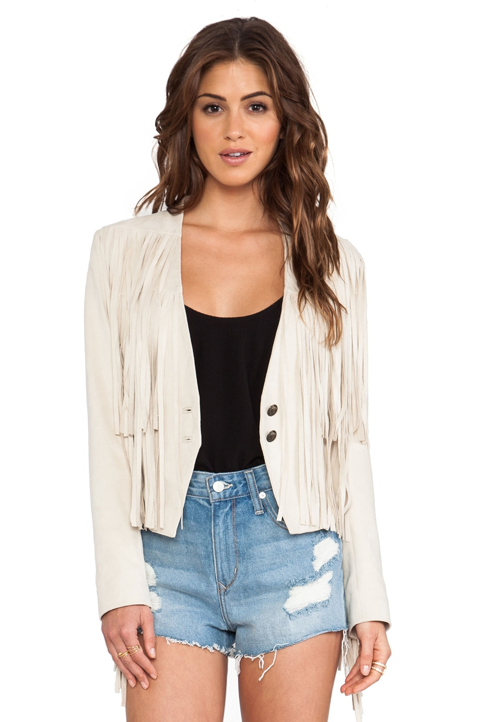 Tularosa Knox Fringe Jacket in Cream
