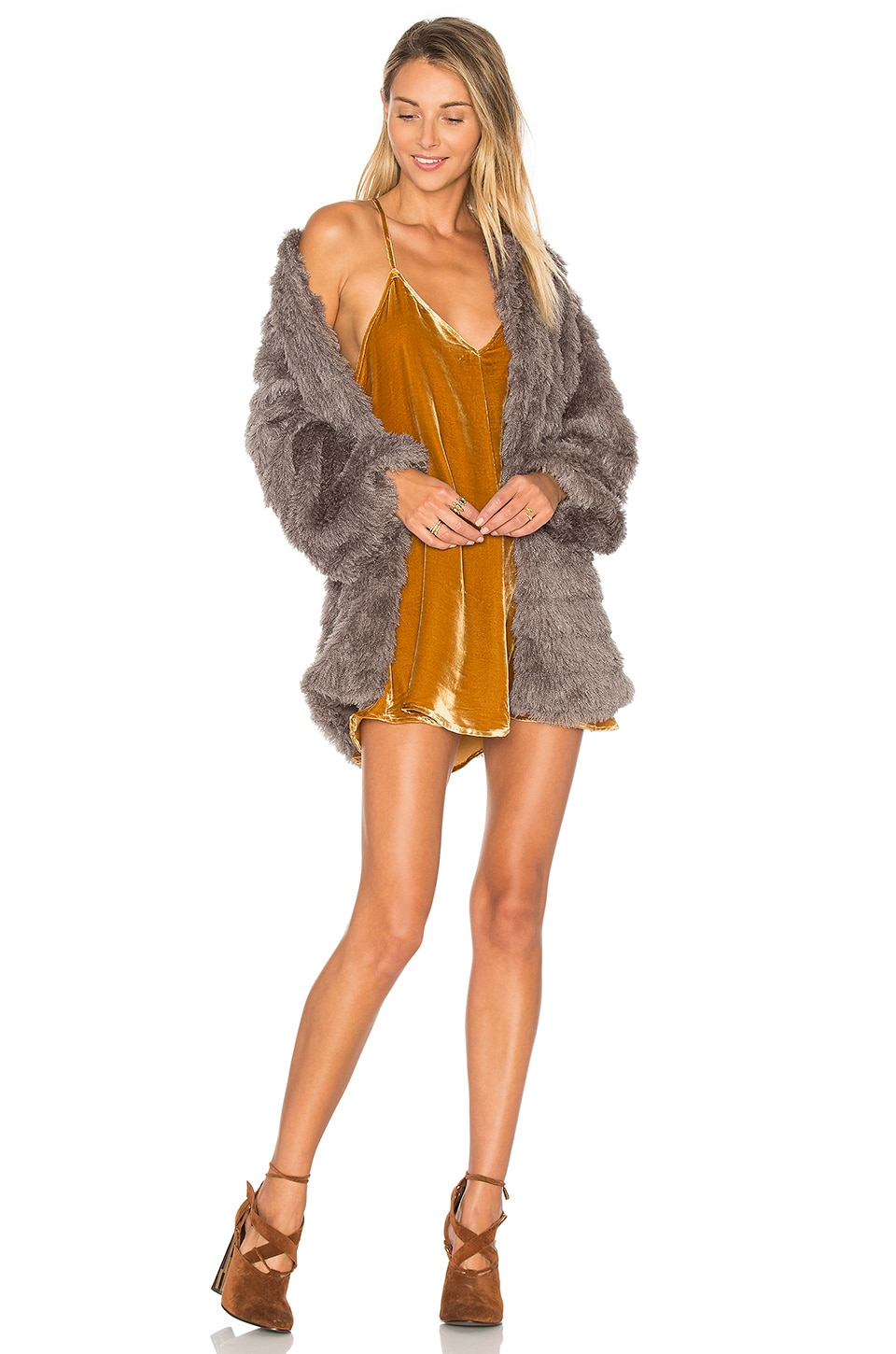 Tularosa x REVOLVE Ricci Faux Fur Jacket in Grey