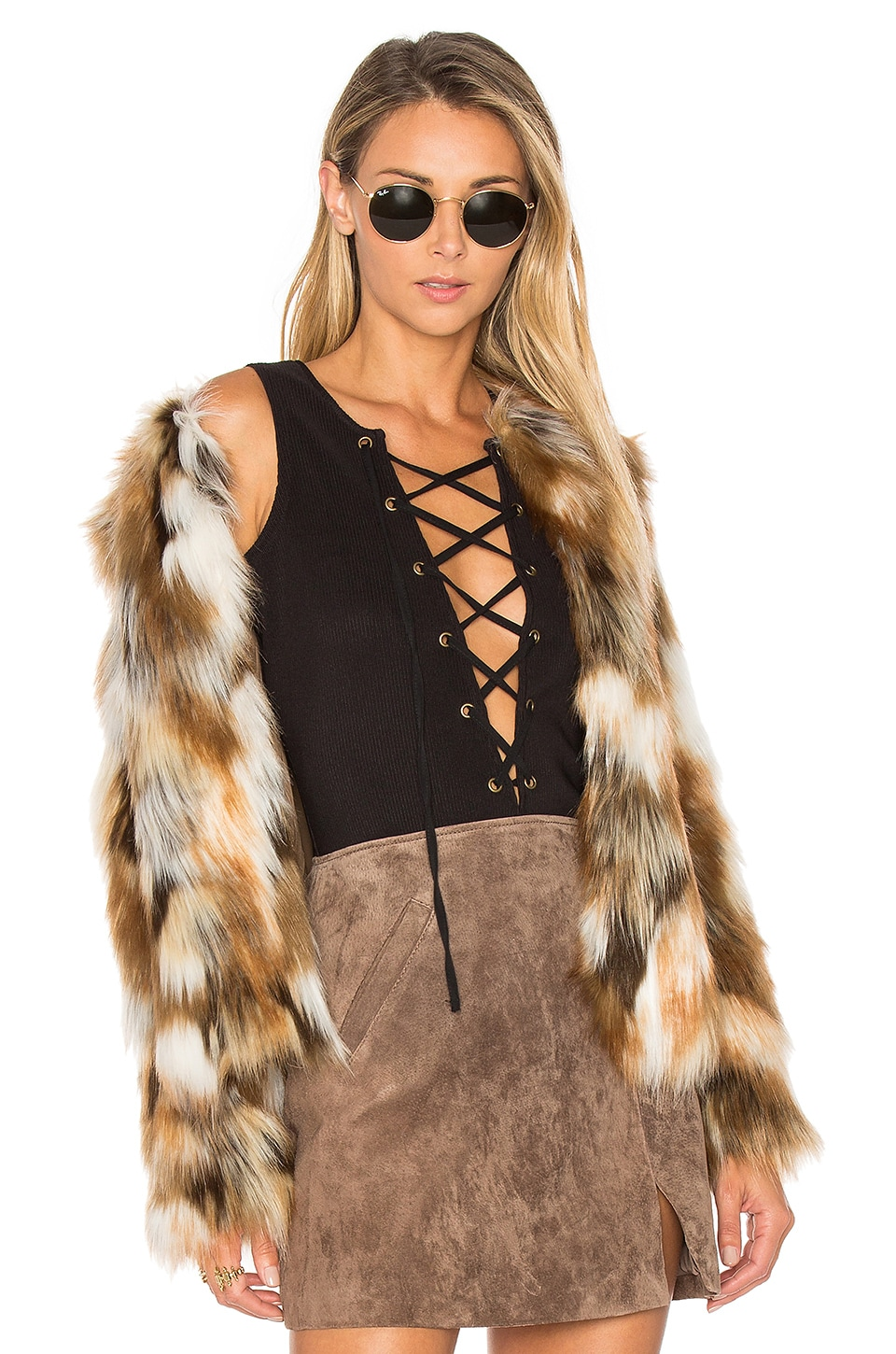 Tularosa x REVOLVE Averly Faux Fur Coat in Beige & Brown