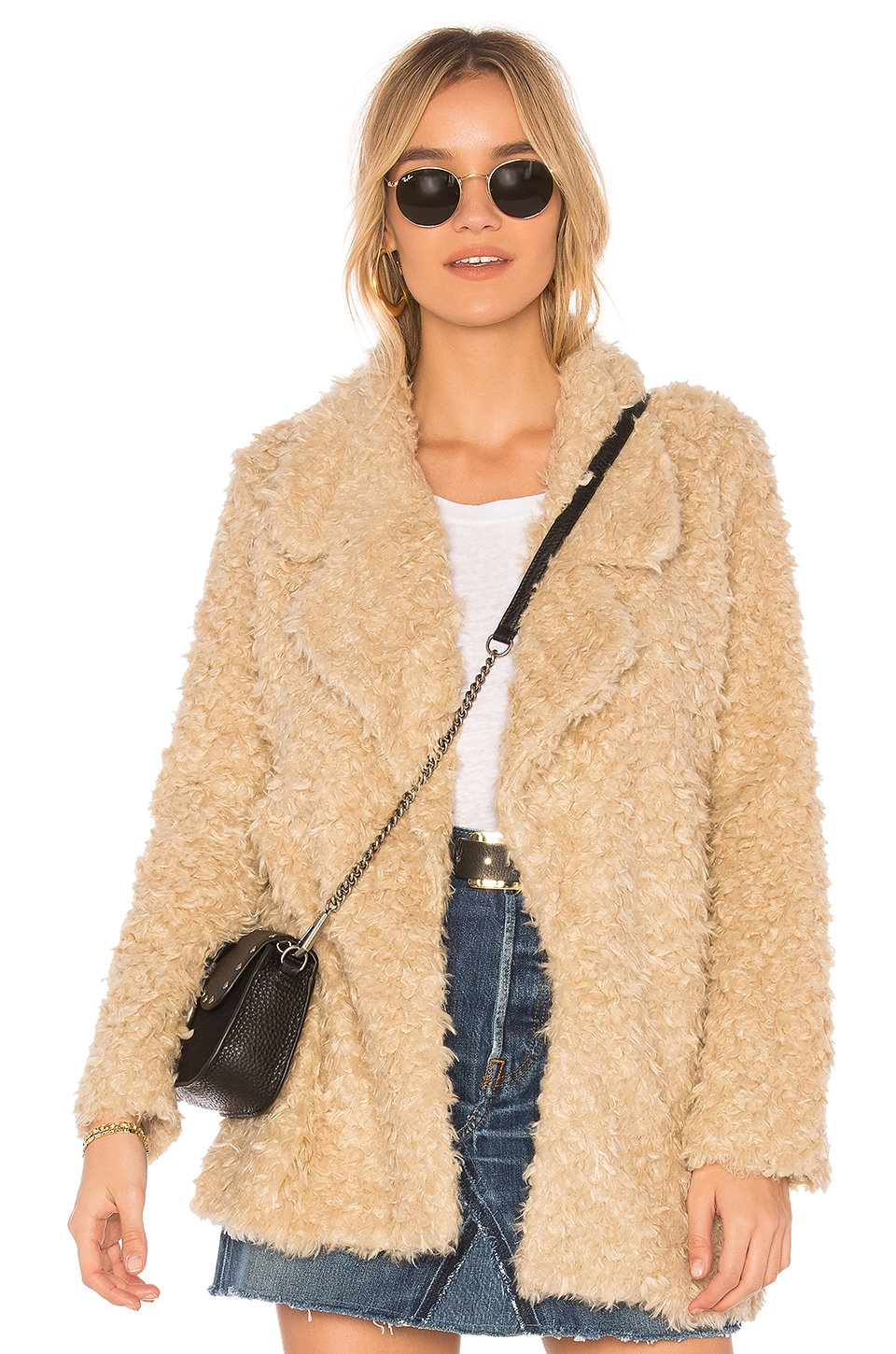 Tularosa Violet Faux Shag Coat in Natural
