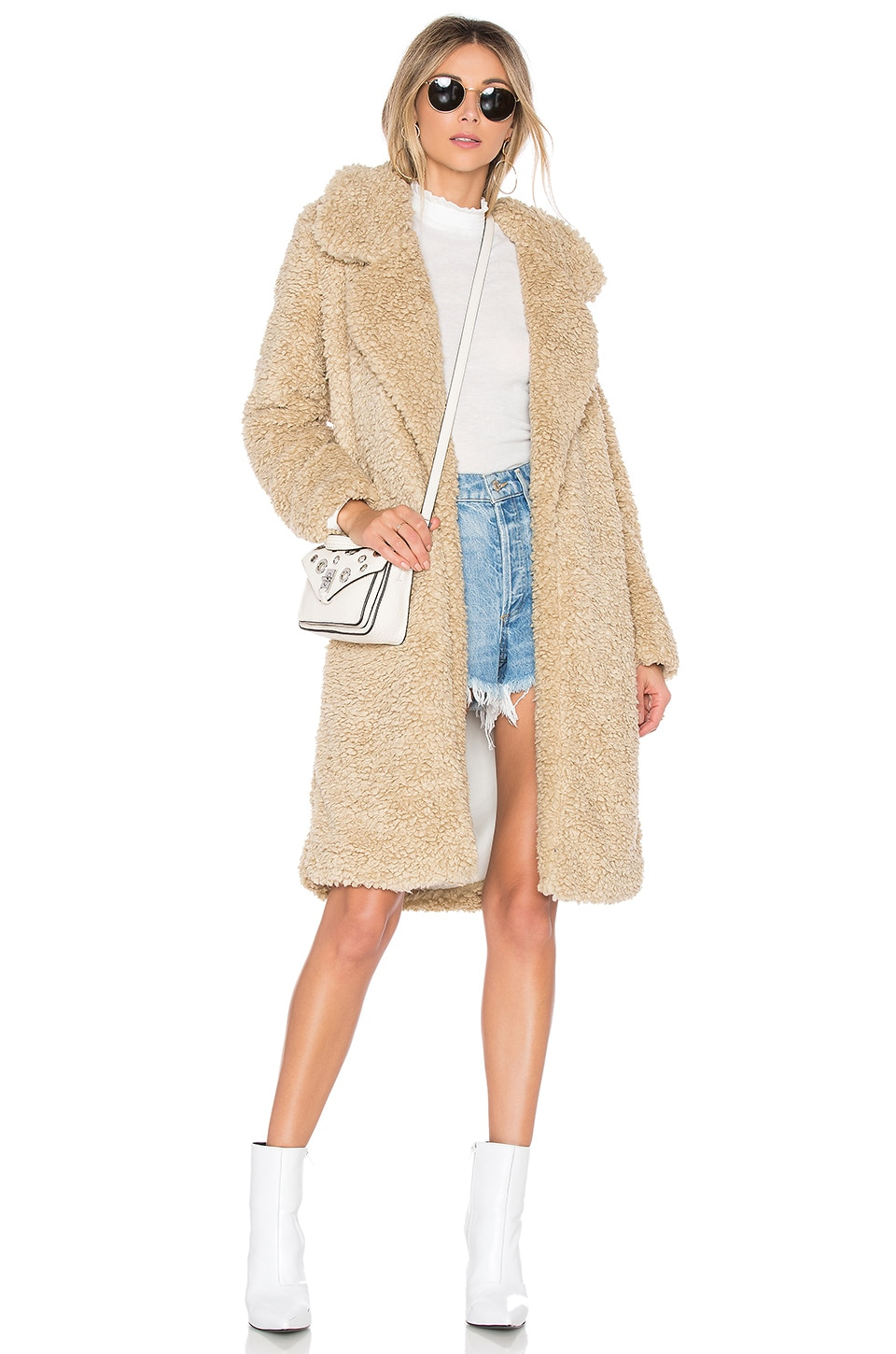 Tularosa Long Violet Coat in Beige