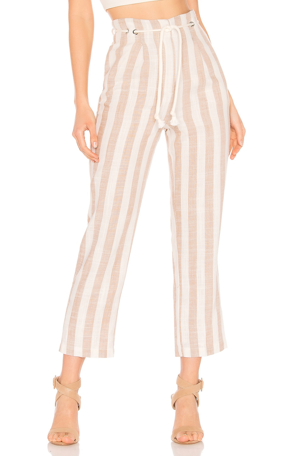 Tularosa Nicki Pants in White & Beige Stripe