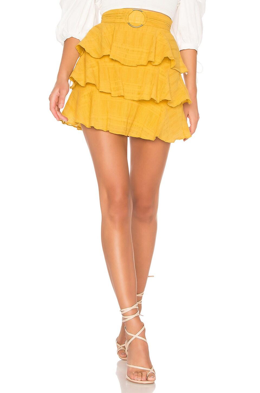 Tularosa Flora Belted Skirt in Mustard Yellow