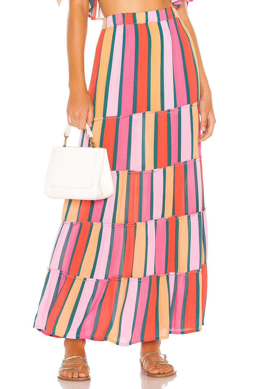 Tularosa Summer Lovin Skirt in Pink & Forest Stripe