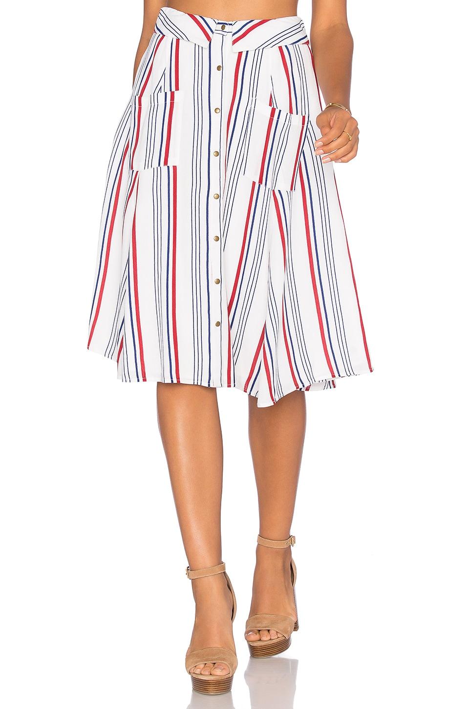 Tularosa Oliver Skirt in Blue & Red Stripe