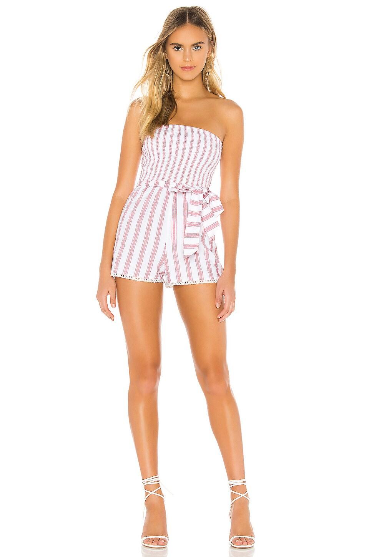 Tularosa Laylah Romper in Red & White Stripe