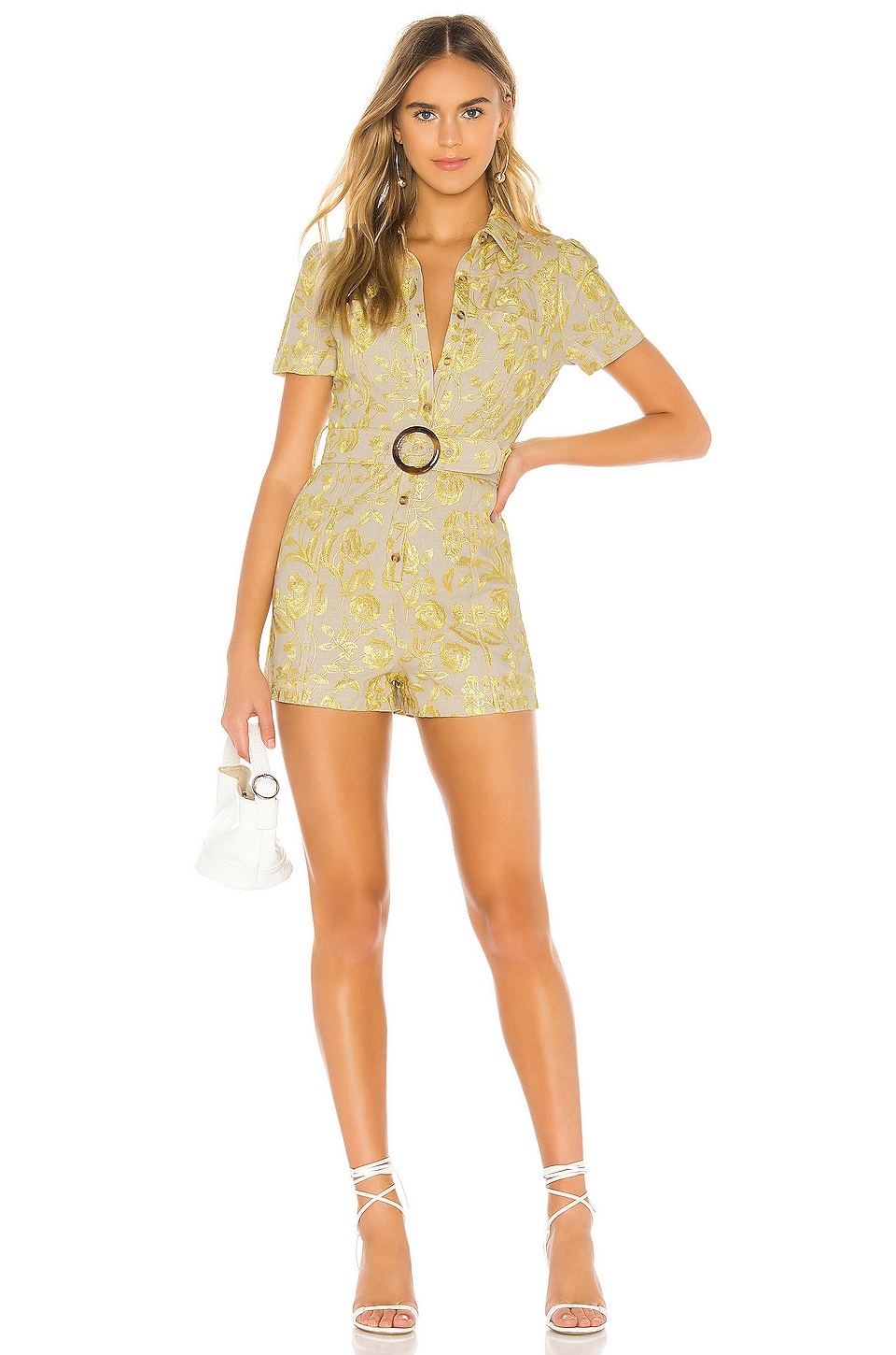 Tularosa Teri Embroidered Romper in Yellow Floral
