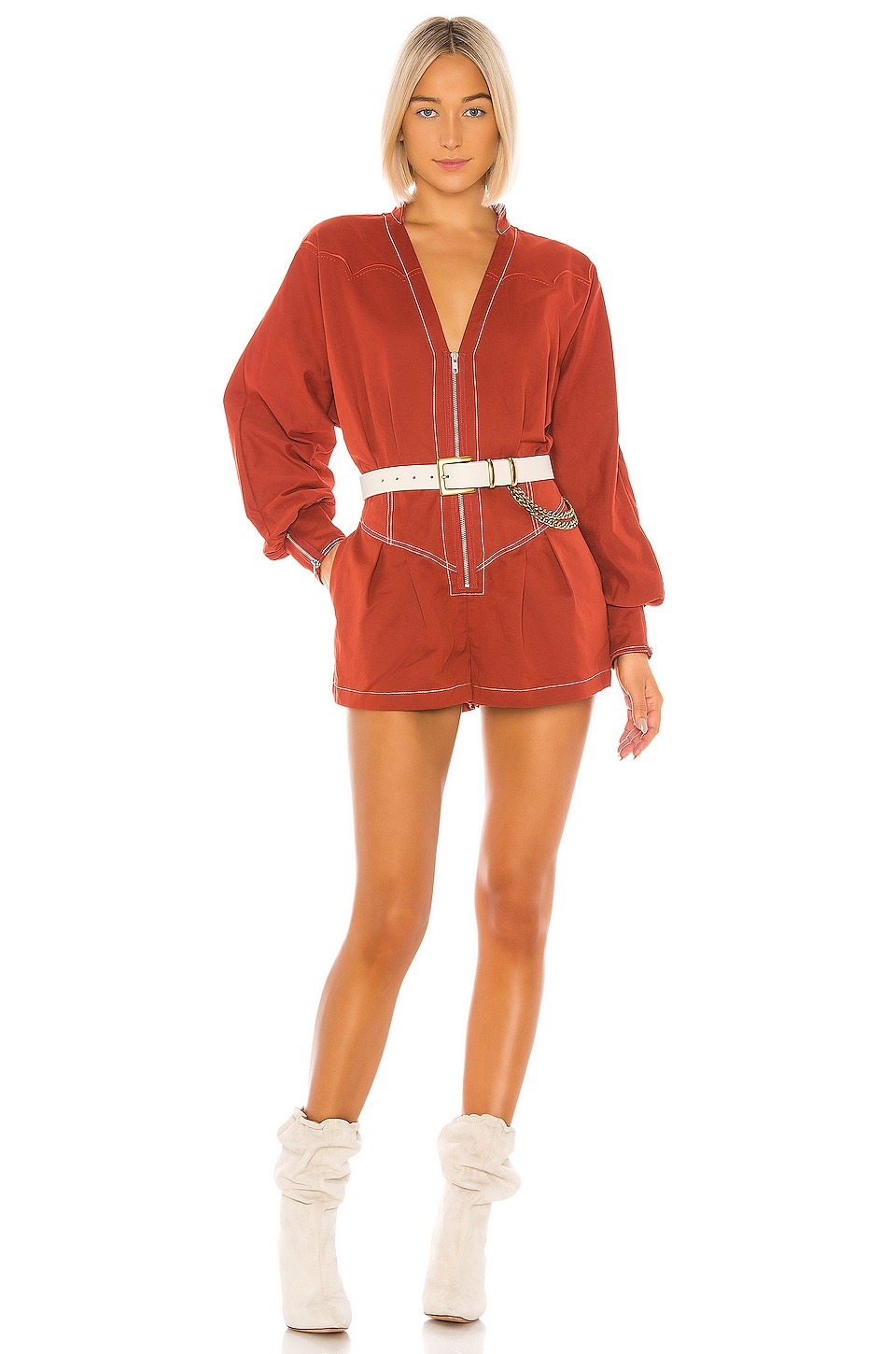Tularosa The Jhene Romper in Brick Red