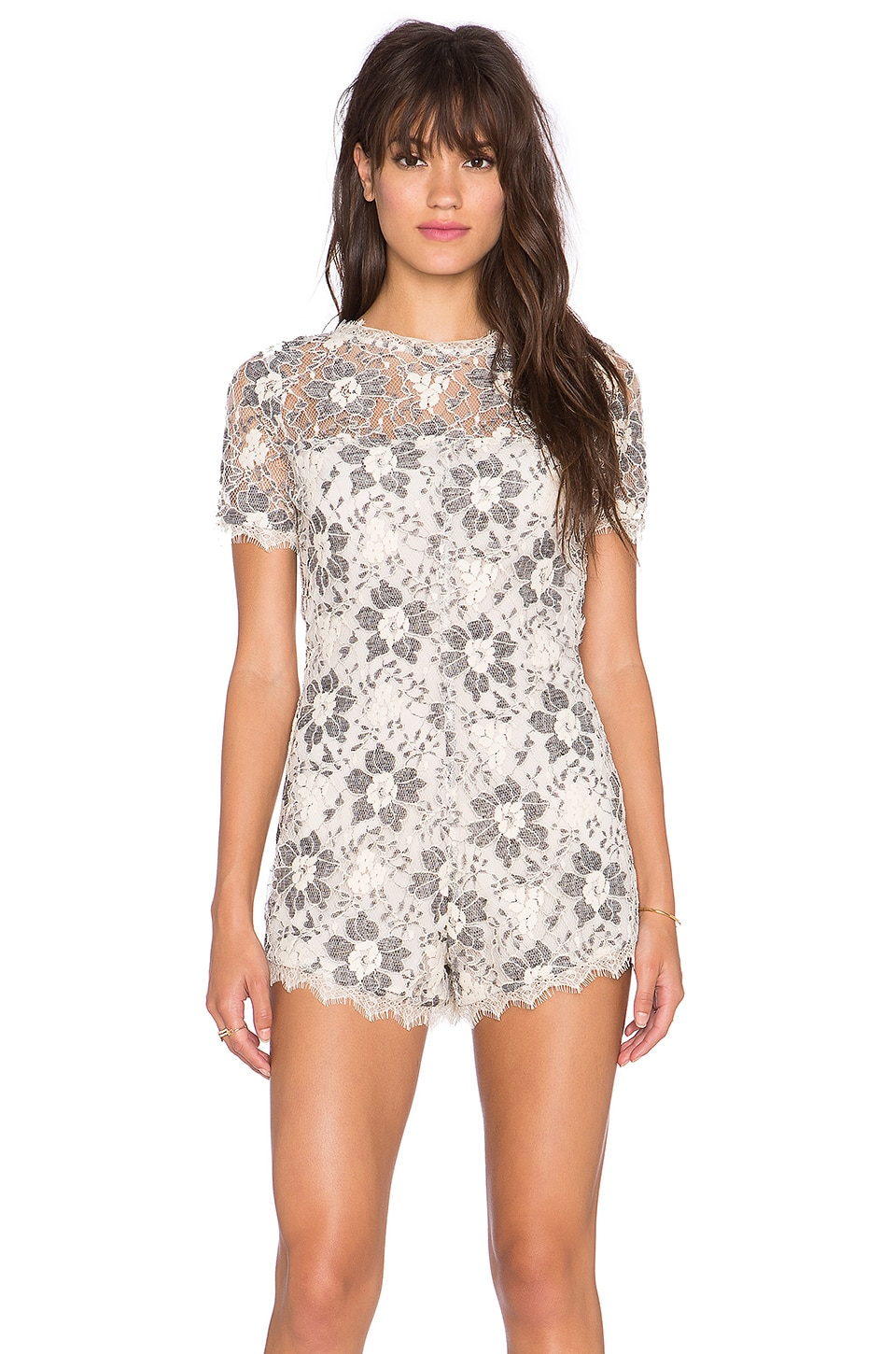 Tularosa Charlie Lace Romper in Black & Cream