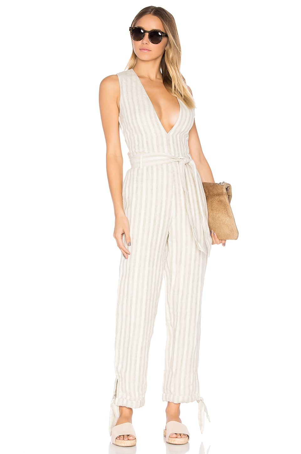 Tularosa x REVOLVE Reese Jumpsuit in Natural Stripe
