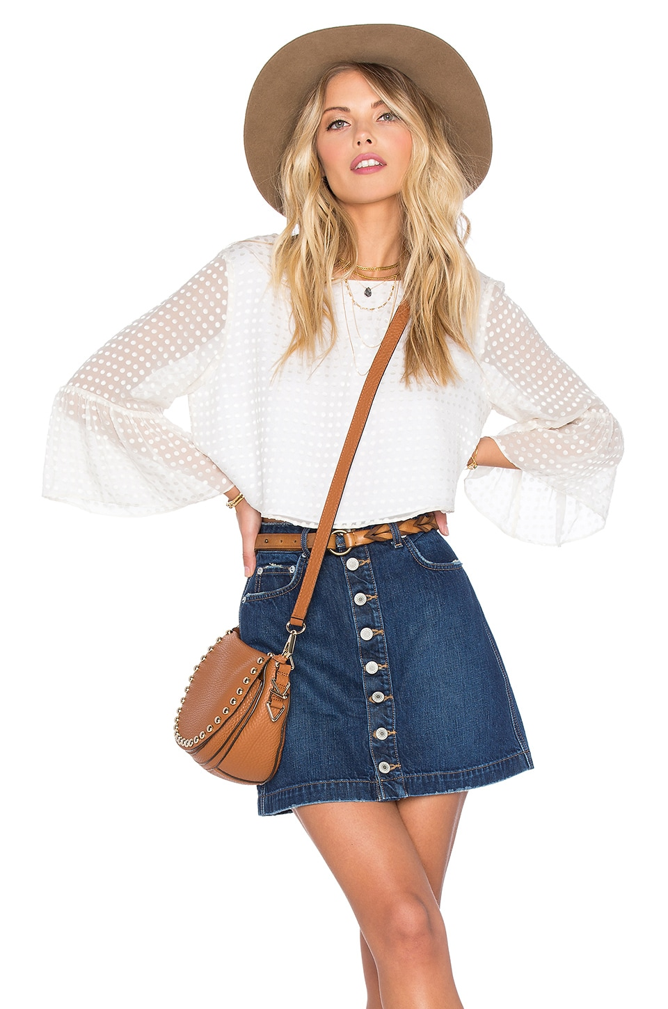 Tularosa x REVOLVE Polly Blouse in White Dot