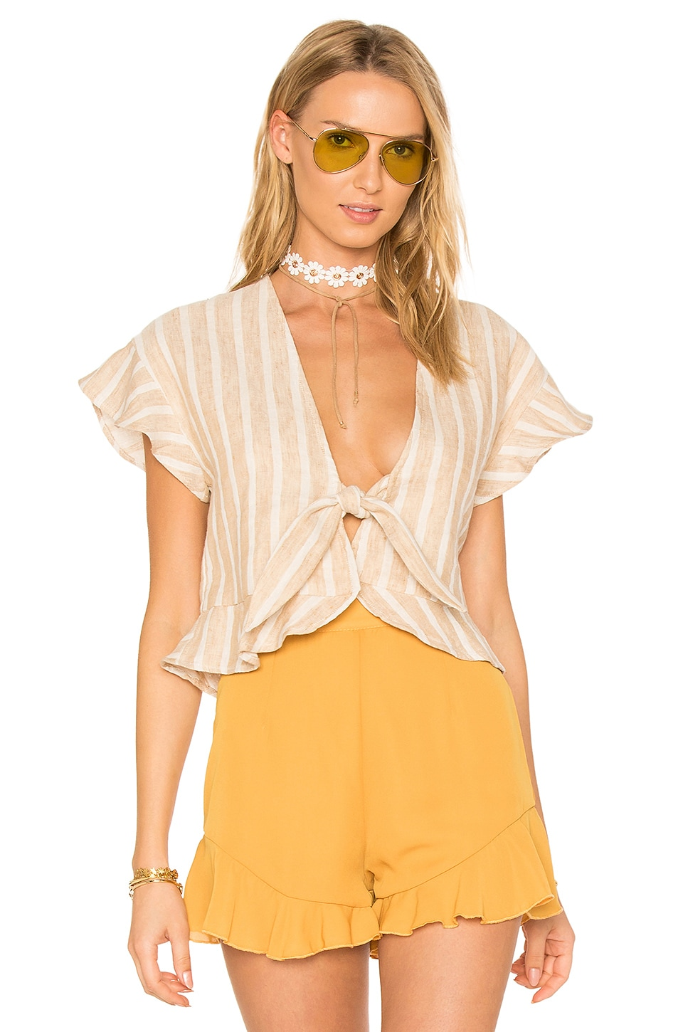 Tularosa x REVOLVE Winnie Blouse in Natural Stripe