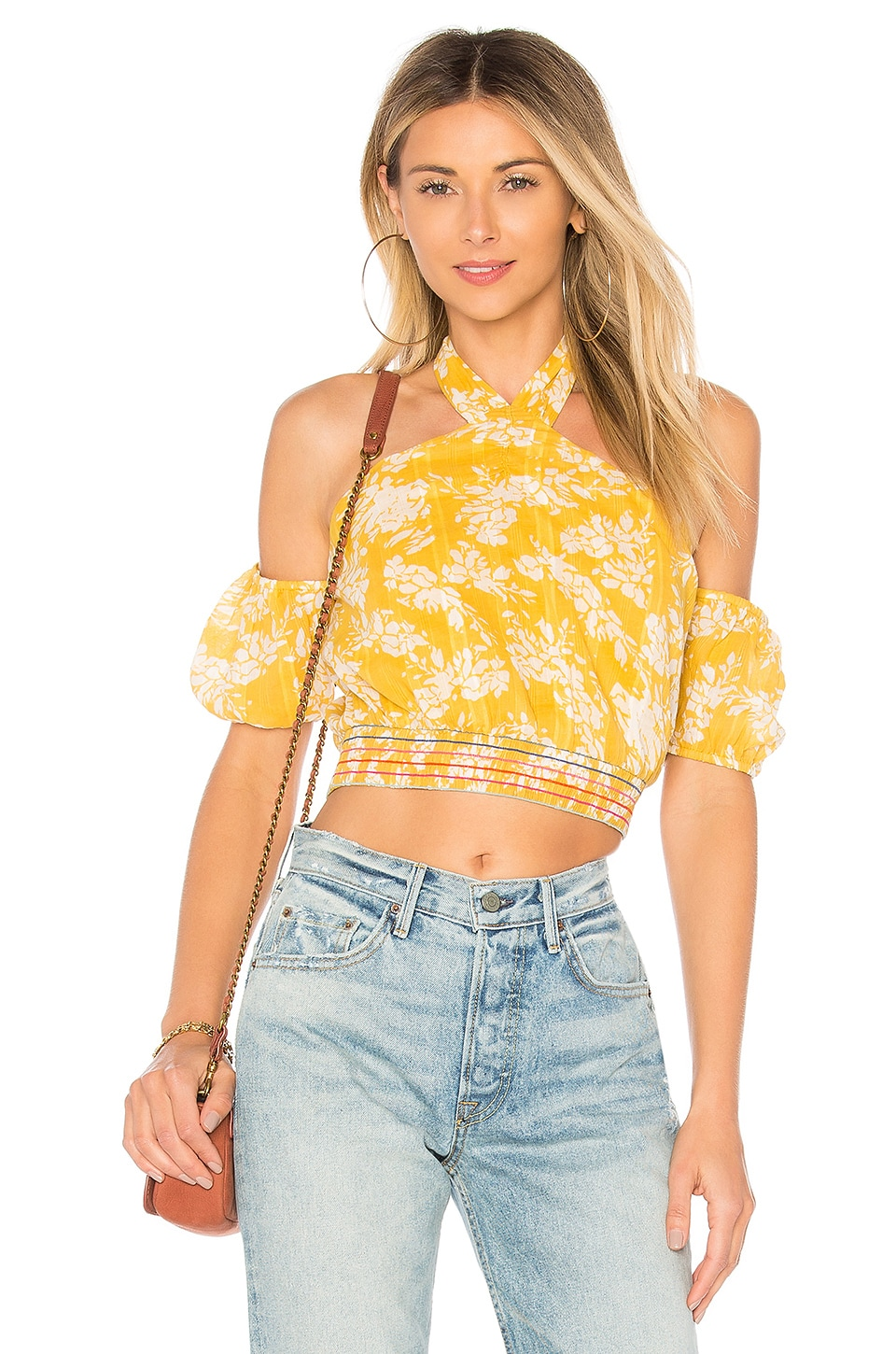 TULAROSA Spencer Cropped Halter Top in Yellow