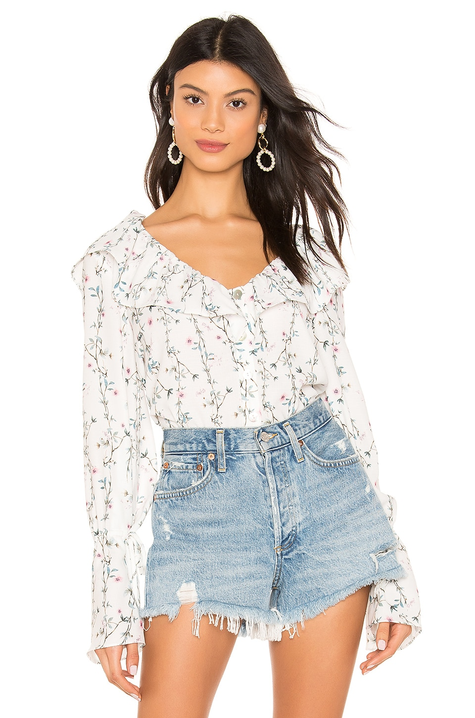Tularosa Catherine Blouse in Ivory Vine Floral