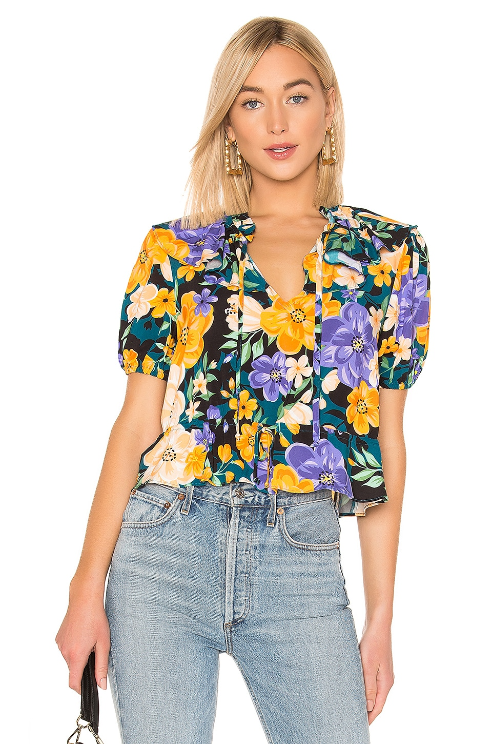 Tularosa Beatrice Blouse in Lavender Floral