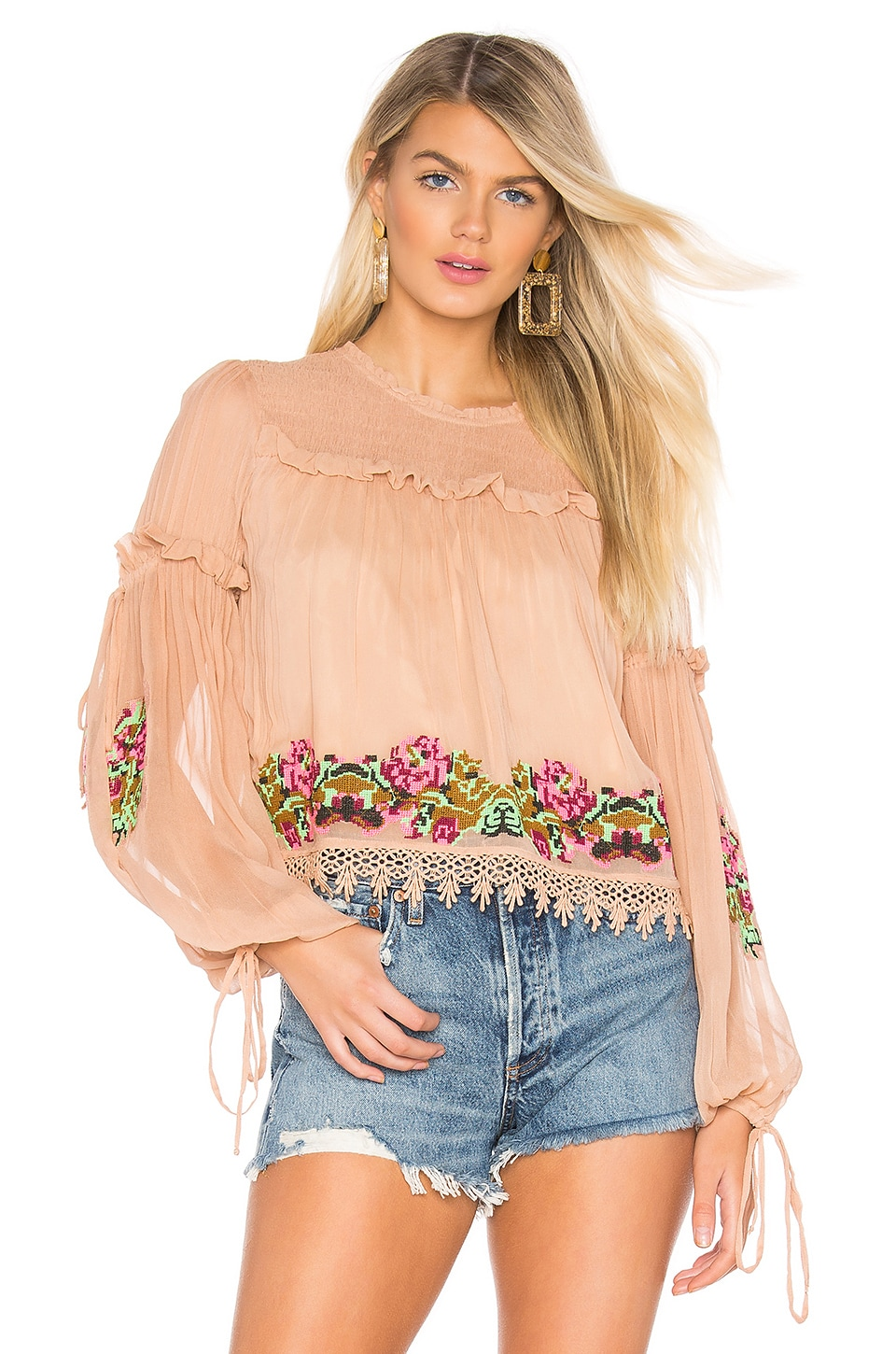 Tularosa Lottie Embroidered Top in Nude