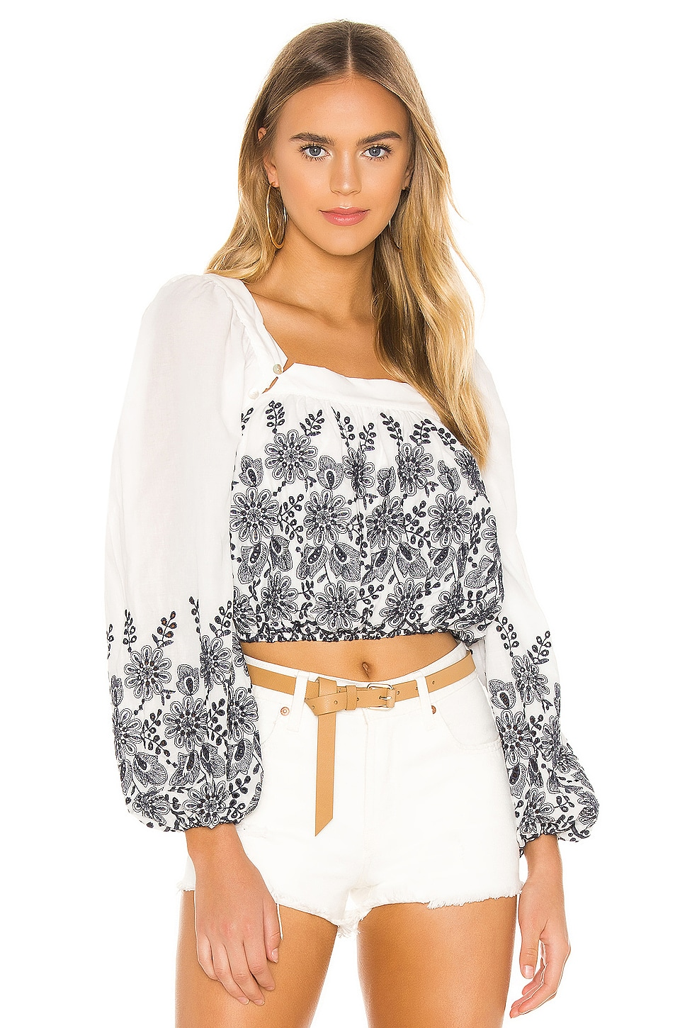 Tularosa Mae Top in White & Navy