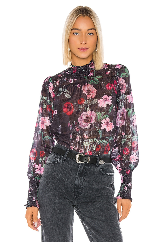 Tularosa Adley Smocked Top in Midnight Floral