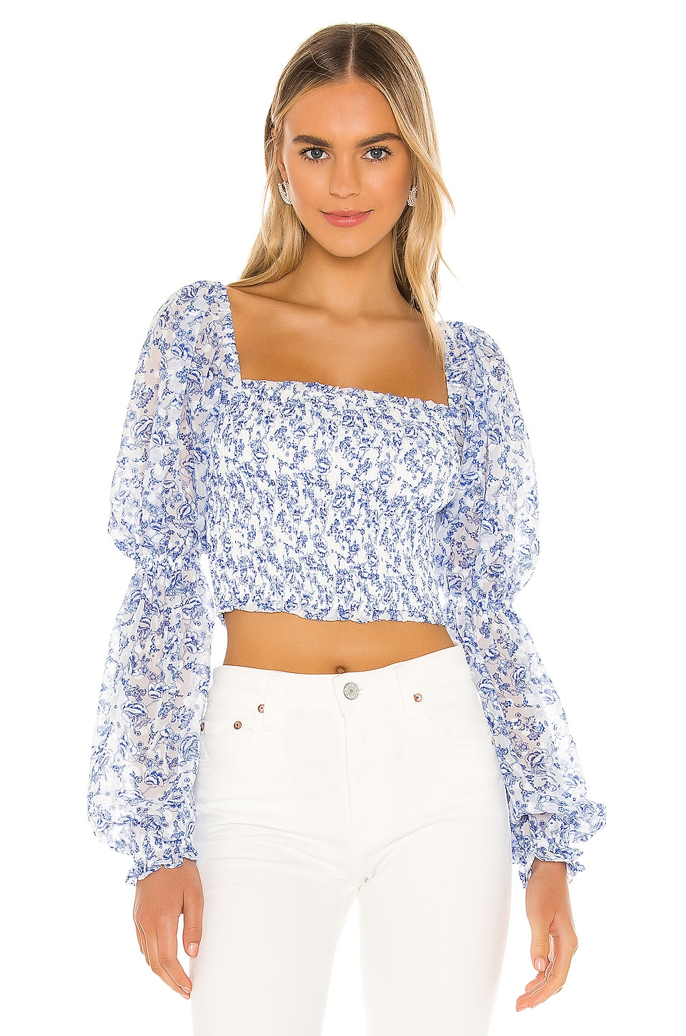 Tularosa Trinity Smocked Top in Country Blue Toile