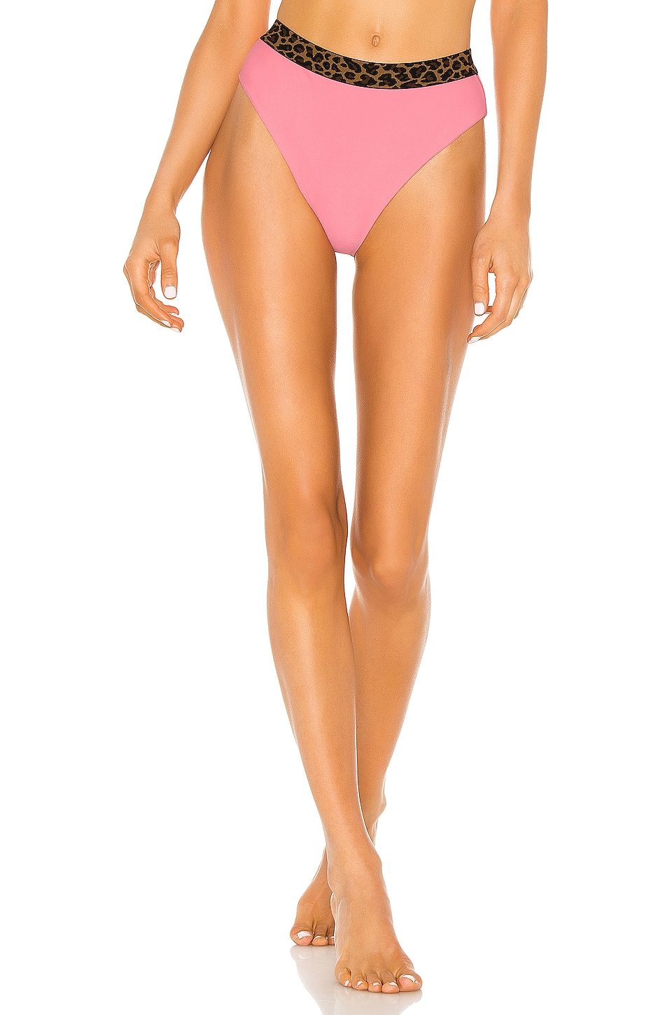 Tularosa Otto High Waist Bottom in Coral & Leopard