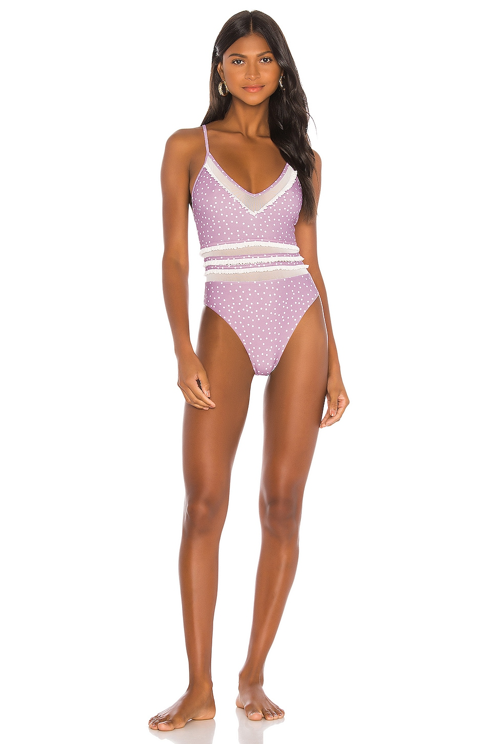 Tularosa Rosey One Piece in Dusty Lavender Dot