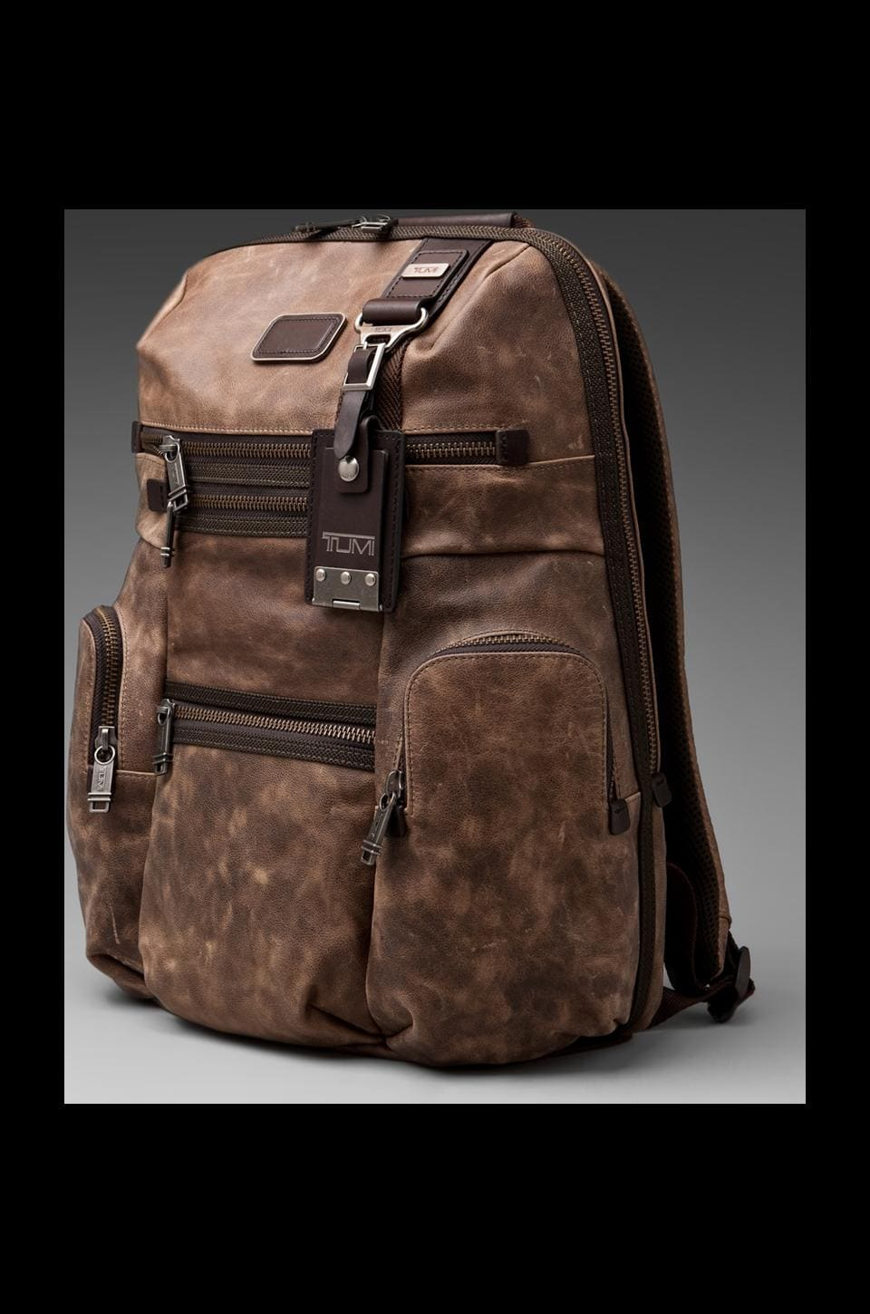 Tumi Alpha Bravo Leather Knox Backpack en Marron
