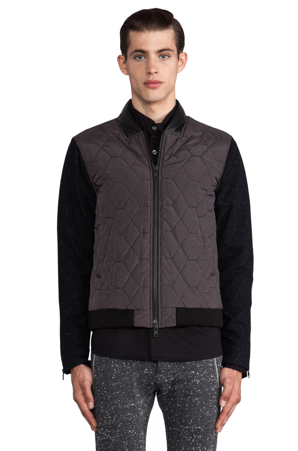 TIMO WEILAND Carlos Quilted Bomber in Navy