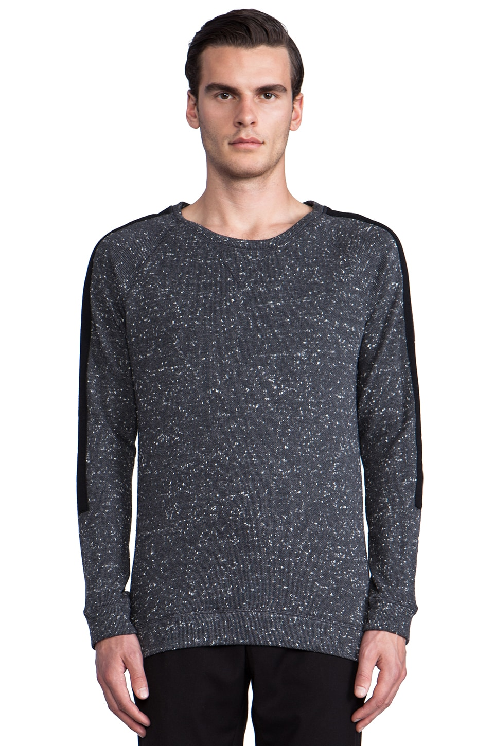 TIMO WEILAND Adam Combo Stripe Sweatshirt in Grey Dot/Black