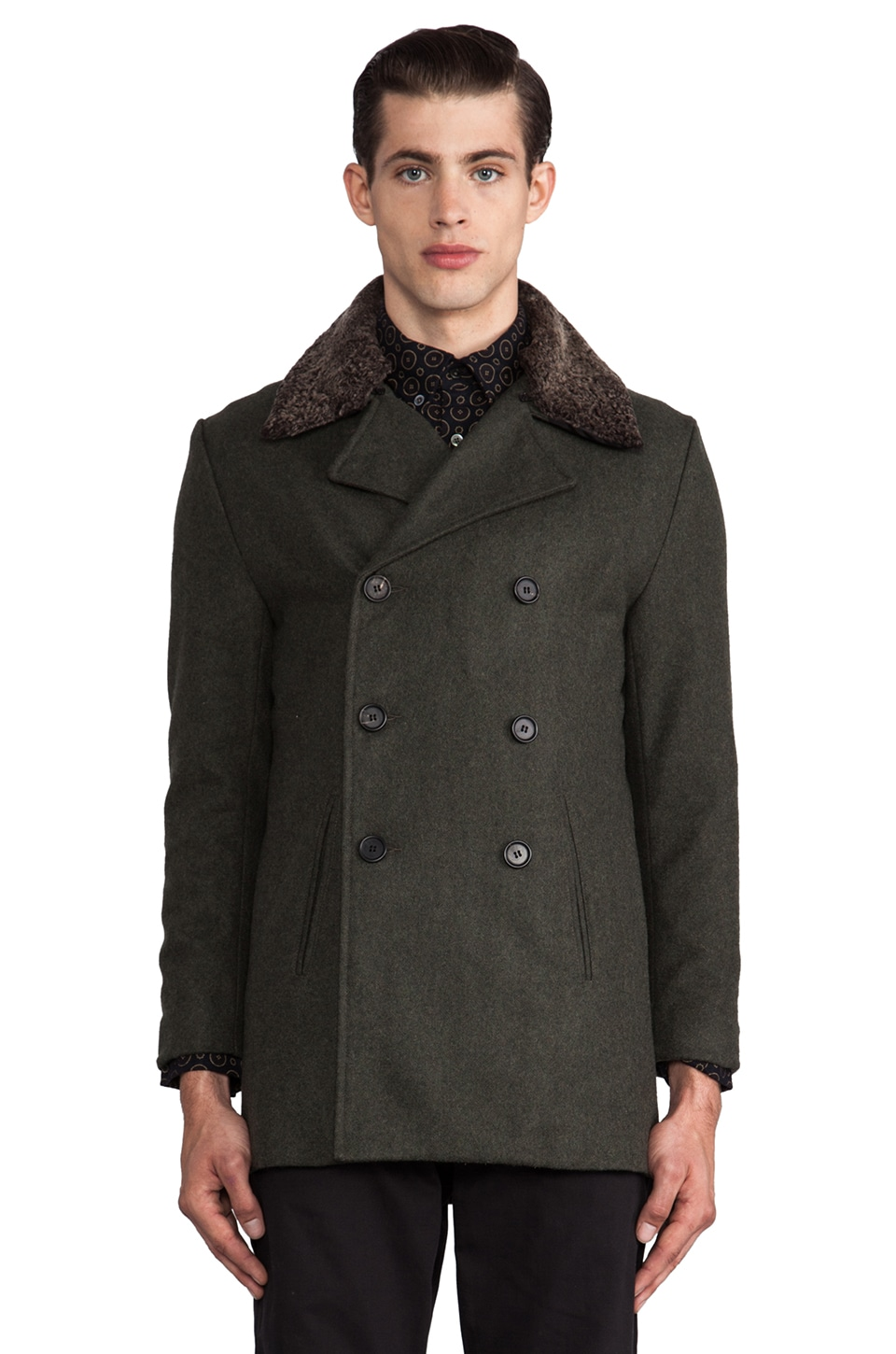 TIMO WEILAND Jeff Peacoat w/ Sherling Collar in Forest Green