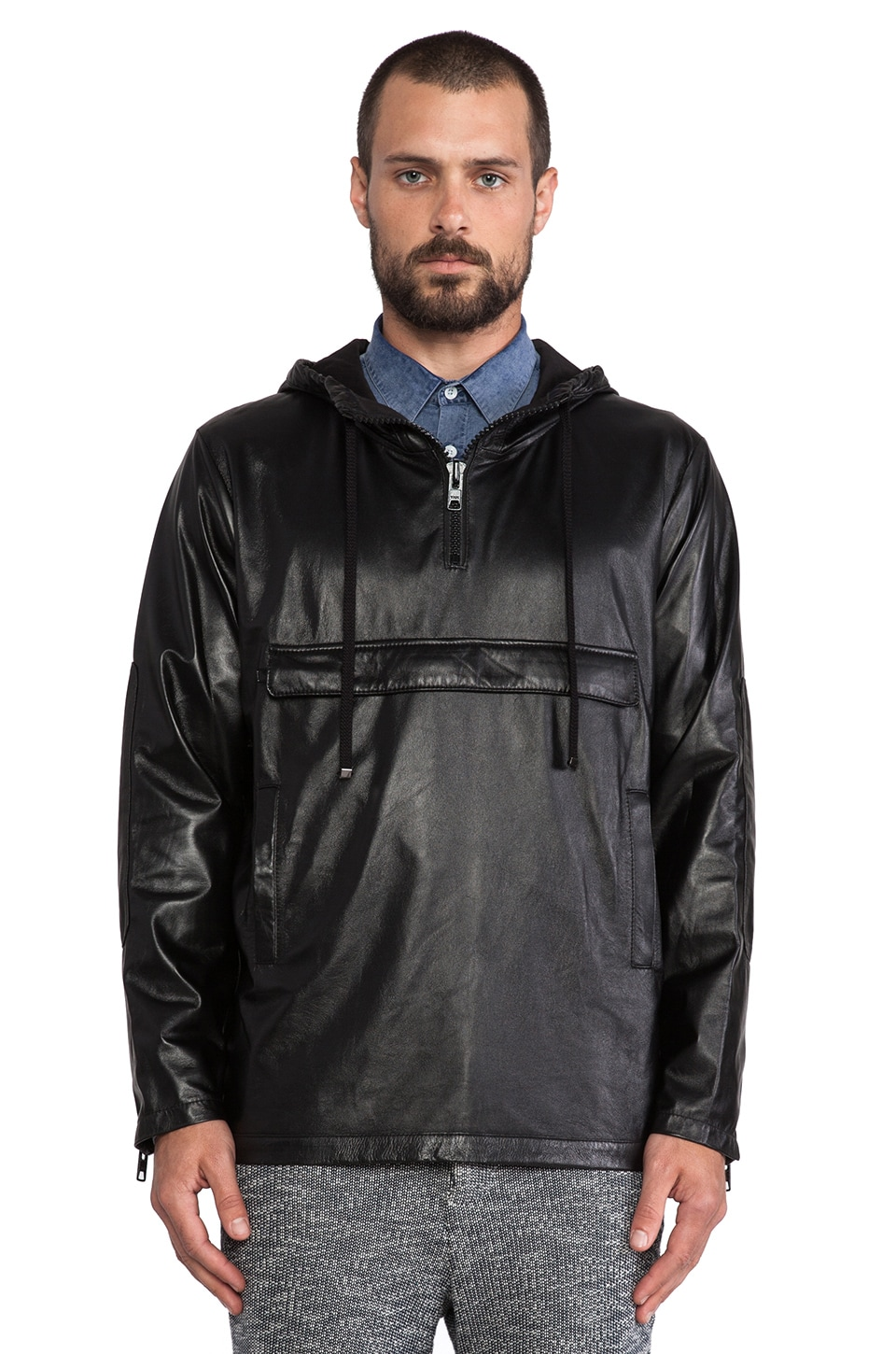 TIMO WEILAND Leather Anorak in Black