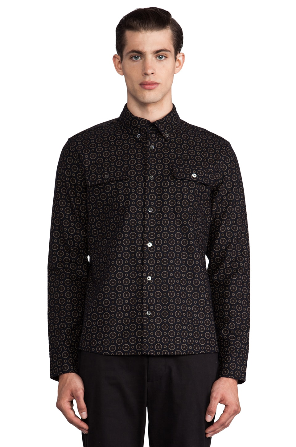 TIMO WEILAND Workman Button Down in Circle Print